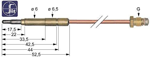 SIT Thermoelement für Ambach GBP-70-V, EKU 60GE4, 60GST4 für Grillplatte, Rostbräter, Gasherd Länge 320mm Steckhülse ø6,0(6,5) mm