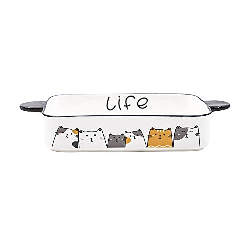 Ceramic Baking Dish,Cat Baking Pan Ceramic Brownie Pan Casserole Dish Lasagna Pans for Cooking, Kitchen, Cake Dinner, Banquet and Daily Use 10X5 in