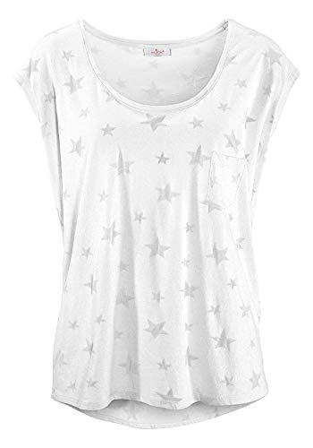 ELFIN Damen T-Shirt Kurzarmshirt Basic Tops Ärmelloses Tee Allover-Sternen Ausbrenner Shirt Sommer Shirt X-Large Sexy Weiß