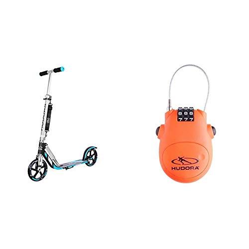 HUDORA 14709 BigWheel 205-Das Original mit RX Pro Technologie-Tret-Roller klappbar-City-Scooter, blau/schwarz & Kabel-Schloss Fahrrad Scooter, Zahlenschloss, 14492
