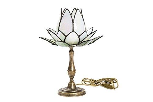 Lampe abat-jour en laiton bruni avec verre Tiffany fleurs de lotus blanc