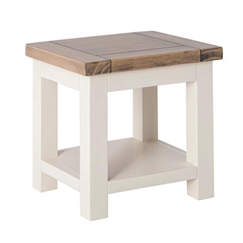 Hove Ivory Square Lamp Table with Shelf | Roseland Furniture Small Low Painted Wooden Side End Sofa Table for Living Room, Hallway or Bedroom | Fully Assembled