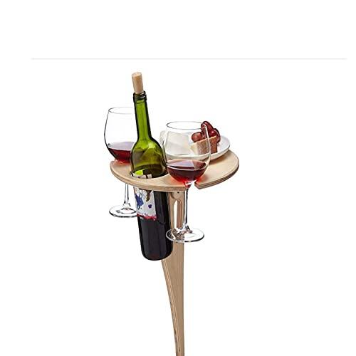 Hpjoobkle Mesa de Vino portátil al Aire Libre, Mesa de Vino Plegable con Escritorio Redondo Mini de Madera Fácil de Transportar Picnic Party Party Herramientas de Viaje Desmontable Fácil de Instalar