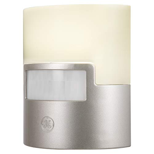 GE Silver LED Night Light, 1 Piece, Motion Sensor, 40 Lumens, Plug-in, Soft White, UL-Listed, Ideal for Bedroom, Nursery, Bathroom, 29844