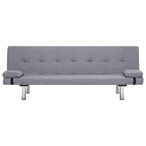 Tidyard Schlafsofa mit 2 Kissen, Sofa modernen Design, Bettsofa, Schlafcouch, Polyesterbezug, Couch Rückenlehne in 3 Positionen neigbar,Gesamtmaße:168 x 77 x (61,5/64/66) cm (L x B x H)