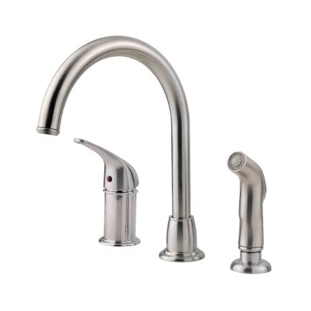 Pfister LF-WK1-680S Cagney 1-Handle Kitchen Faucet with Side Spray in Stainless Steel, 1.8gpm