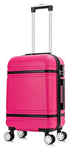 DK Luggage Starlite ABS-147 Cabin 20' Hardshell Suitcase 4 Wheel Spinner Pink