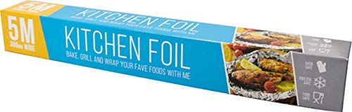 Kitchen Foil 5 Metres x 300mm, Bake, Grill Wrap with Tin foil. Oven and Freezer Safe Tinfoil.