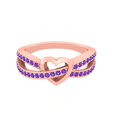 Anillo de compromiso con forma de corazón de infinito de diamante morado de 0,44 quilates para ella con acabado en oro rosa de plata 925