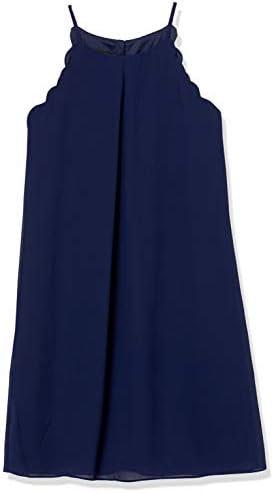 A Byer Junior s Young Women s Teen Scalloped Edge Chiffon Shift Dress Navy Blue Medium product image