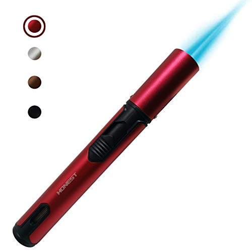 JUN-L Refillable Butane Torch Lighter Adjustable Flame Lighter Jet Camping Lighter for Desserts, Creme Brulee, Welding, BBQ and Baking -Red (Butane Gas Not Included)