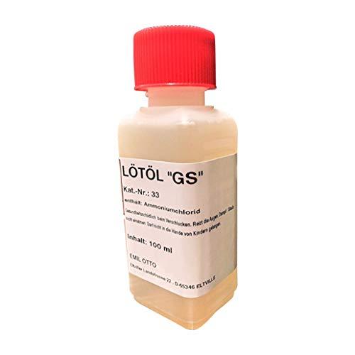 Flussmittel/Lötöl GS 100 ml (für konventionelles Weichlöten von Eisen, Kupfer- und Messingwerkstoffen), kein Gefahrgut, schwermetallfrei, sehr umweltverträglich