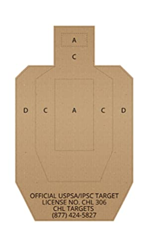Official USPSA/IPSC Cardboard Shooting Targets, Competition Torso Target, Paper Silhouette Shooting Target, Shooting Range, Rifles, Handguns, & Shotguns (Cardboard, 20)