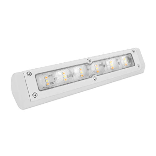 Dream Lighting LED 12V DC Awning Light Bar for RV Trailer Outdoor Camping, Boat, IP65 Waterproof Porch Light Wall Lamp for Garden, 720 lumens—White Housing, Cool White & Amber Light, 7.8inch / 200mm