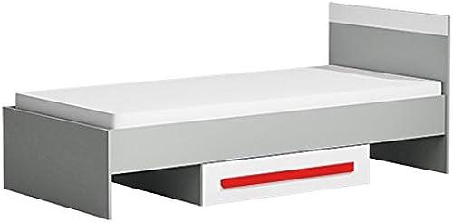 Kinderbett Jugendbett Olaf 12 inkl. Lattenrost, Farbe  Anthrazit Weiß Rot, teilmassiv - 90 x 200 cm (L x B)