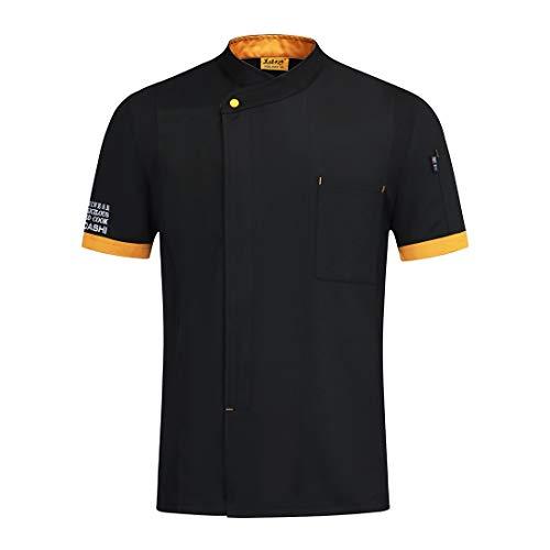 Freahap - Camiseta Camisa Cocina Chef Manga Corta para Verano Profesional Unisex, Uniforme de Chef de Moda, Chaqueta de Cocinero Camarero Negro XL
