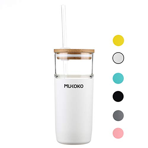 20oz Glass Tumbler with Straw and Lid,Tumbler With Silicone Protective Sleeve and Bamboo Lid - BPA Free White