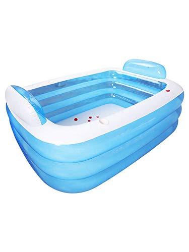 globalqi Aufblasbarer Pool, Rückenlehnenbadewanne, Pool Für Kleinkinder Und Babys, Familienpool Für Kinder, Kleinkinder Und Erwachsene, Swim Center Für Kinder Ab 3 Jahren, Blau