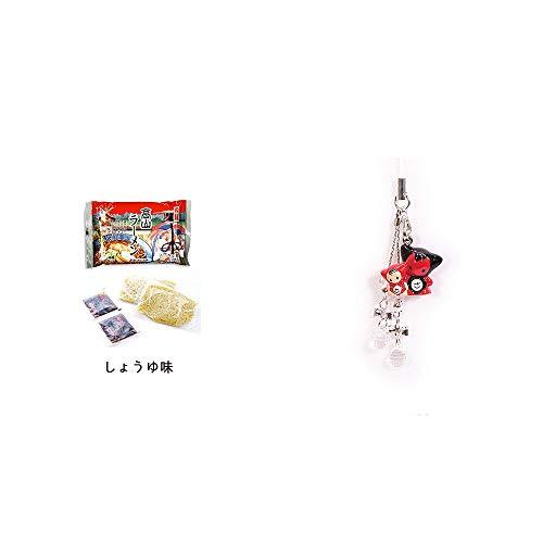 [2点セット] 飛騨高山ラーメン[生麺・スープ付 (しょうゆ味)]・さるぼぼペアビーズストラップ 【クリア】/縁結び・魔除け//