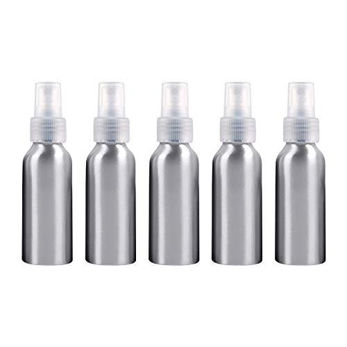 PAN-FR Bouteilles cosmétiques, 5 Bouteilles en Verre Rechargeables de Brume Fine d'atomiseurs de PCS Bouteille en Aluminium, 100ml Bouteilles de Rechange (Couleur : Transparent)