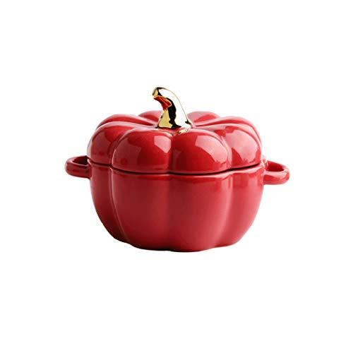 XZPENG Zucca Forma Creativa Cottura Ciotola in Ceramica con Coperchio, Ciotola di Riso Cottura da tavola Dessert Soup Bowl Acqua Pentola da stufato Sano e Sicuro Zuppa, Frutta, Dessert
