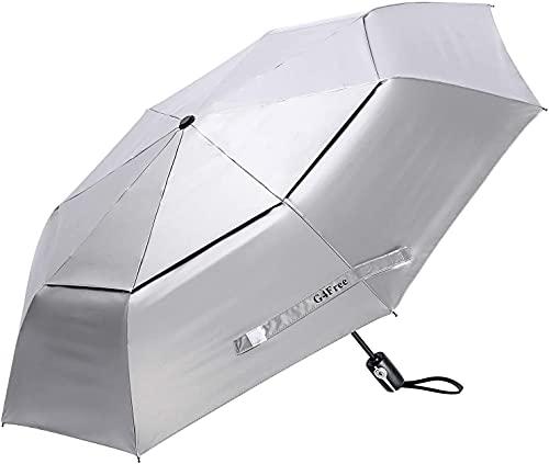 G4Free UPF 50+ UV Protection Travel Umbrella 42 Inch Auto Open Close Silver Vent Double Canopy Folding Sun Blocking Umbrella (Silver/Black)