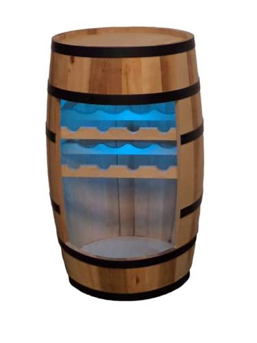 Weinregal Holz - Weinschrank Mini Bar - Weinschrank Mann und Frau - Barschrank mit LED-Leuchten - 80cm hoch - Retro deko Bar Regal - Hausbar Theke - Fassmöbel (Naturholz)