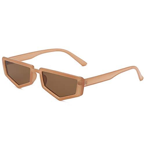 Gafas de sol rectangulares vintage para mujer, gafas de sol para mujer, retro, marco pequeño, polígono, rojo y negro, UV400, adecuado para conducción al aire libre