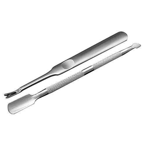Anself Nagelhautschieber Spatel Pusher aus Edelstahl für Nagelhaut und Entfernen Gel Nagellack, 2 Stück