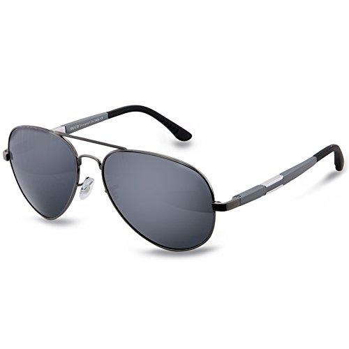 DUCO Unisex Fliegerbrille Polarisierte Sonnenbrille, Pilotenbrille mit Federscharnier, Etui und Putztuch, 3026 (Gestell: Gunmetal, Gläser: Grau)