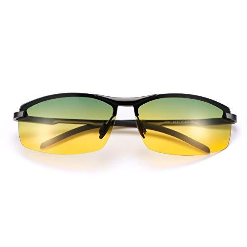 Gafas de Vision Nocturna Conducción Para Hombre y Mujer, Gradient Fotocromáticas Gafas de sol Polarizadas, Montura de aleación,UV 400 Al aire libre Viajar Rectangulares 100% UVA/UVB Protección