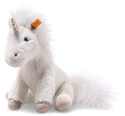 Steiff Unica Floppy Einhorn - 25 cm - Plüscheinhorn sitzend - Kuscheltier für Kinder - Soft Cuddly Friends - weich & waschbar - weiß (087752)