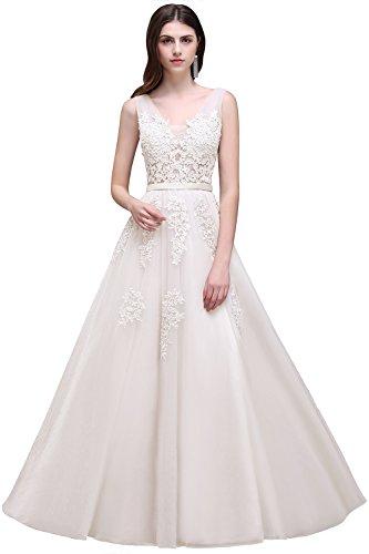 MisShow Damen elegant Tüll Abschlusskleid Ballkleider Abendkleider Festlich Brautjungfernkleider Ivory 42