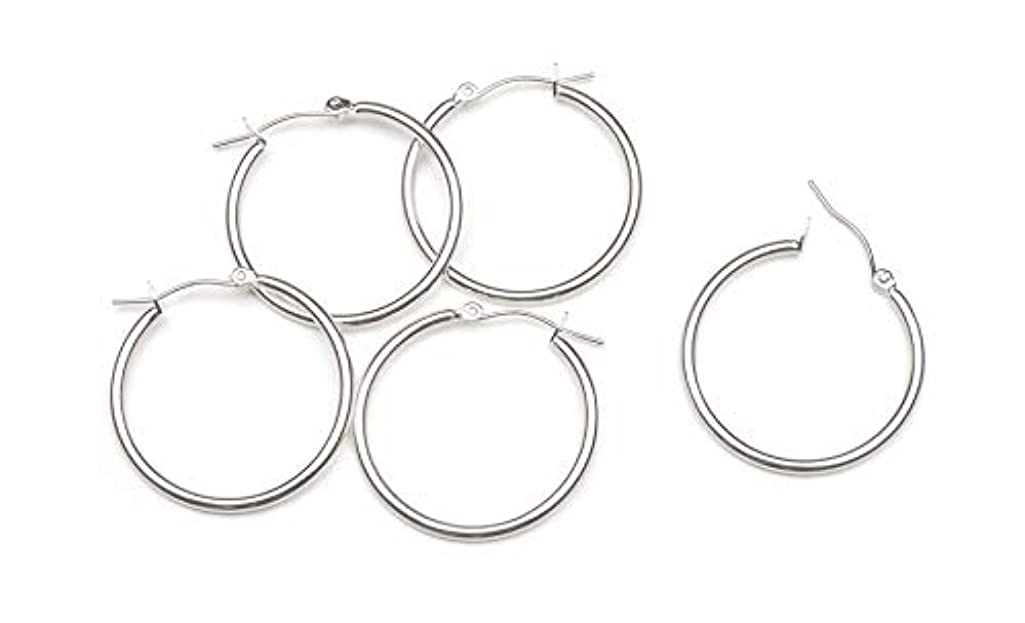 Darice Silver Plated Hoop Earrings with Latch Back, 6-Pair