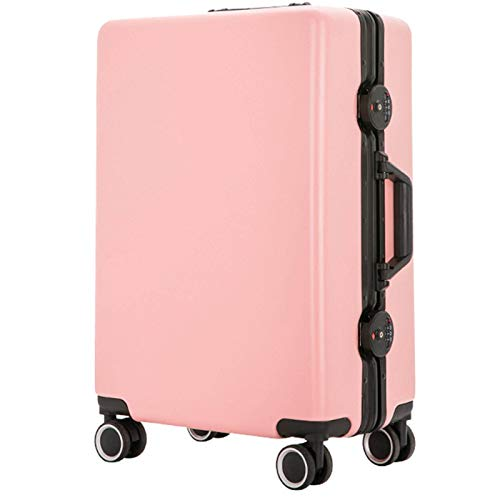 Expandable Luggage, Anti-Scratch Fall Resistant Lightweight ABS with Spinner Wheels Suitcase for Adults Tourism Student Vacation-42x28x65cm-Pink