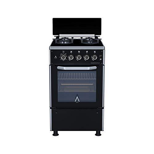 ALPHA Cocina de Gas VULCANO ELITE-50 Cristal Negro, Encendido automático y temporizador en horno. **Alta Gama**