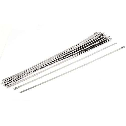 Kaxofang Bridas para Cables de Acero Inoxidable 304 Bridas para Cables con Autobloqueo de 400 Mm, Devanado de Escape Multifuncional 100 Piezas Bridas para Cables