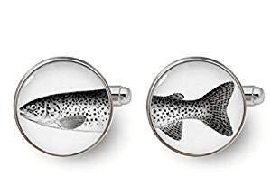 Fischer-Manschettenknöpfe Fisch-Manschettenknöpfe Schwarz Weiß Manschettenknöpfe Geschenke für Angler