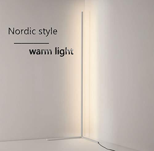 R&P LED Stehleuchte Ecke mit Fernbedienung Stufenloses Dimmen, Für Arbeitszimmer/Schlafzimmer/Wohnzimmer, 55 in, Warmes Licht,Weiß