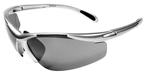 JiMarti JM01 Sunglasses for Golf, Fishing, Cycling-Unbreakable-TR90 (Silver & Smoke)