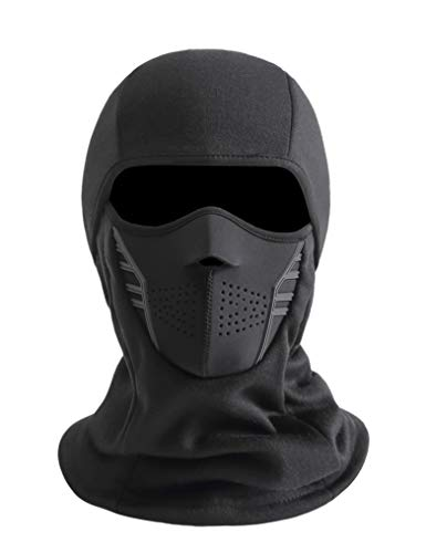 IRELIA Winter Windproof Fleece Ski Mask Balaclava Headwear Motorcycle Thermal Face Mask Bandanas Black