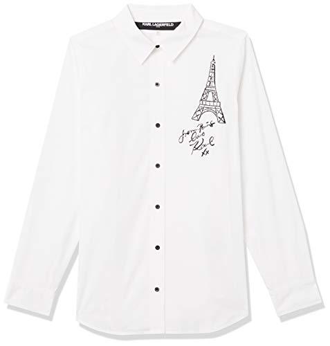 Karl Lagerfeld Paris Damen Embroidered Eiffel Tower Blouse Button Down Hemd, Weiß (Soft White), Groß