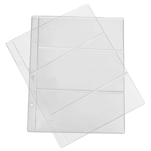Pocket Pages,Migavenn 10 Sheets 3 Grids Plastic Pocket Pages Photo Holders Currency Protector for Stamp Money Photo…