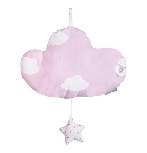 roba Spieluhr 'Kleine Wolke rosa', Baby Einschlafhilfe, Textil-Wolke waschbar, Babyzimmer Deko rosa / weiß