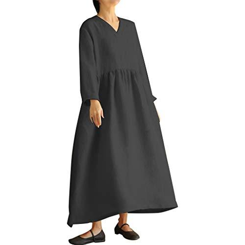 Größe Kleid Damen einfarbig langärmelige Baumwolle und Leinen Kleid Mode lässig V-Ausschnitt Lange lose Herbst und Winter Swing-Kleid Sonojie