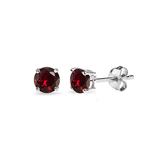Sterling Silver Synthetic Ruby 4mm Round-Cut Solitaire Stud Earrings