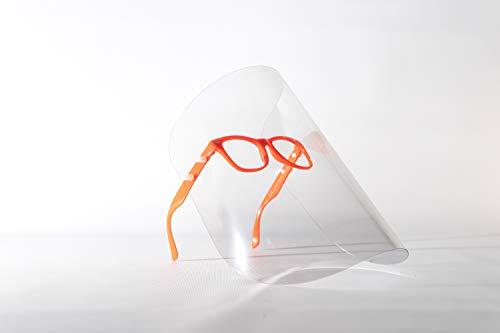 Gesichtsschutzschirm, Gesichtsschutz, Gesichtsmaske, Schutzmaske, Industriemaske, Augenschutz, Kunststoffmaske, Maske mit Brille, sterile Maske, 7 Farbe, hergestellt in der EU (5 Pack, Orange)