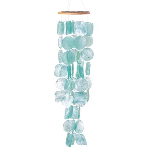 Solange & Frances Shell Wind Chimes. This Capiz Shell Wind Chime is Turquoise and 26 inches Long. This is A Great Gift for Mom. This Outdoors Windchime is The Perfect Chimes Decor.