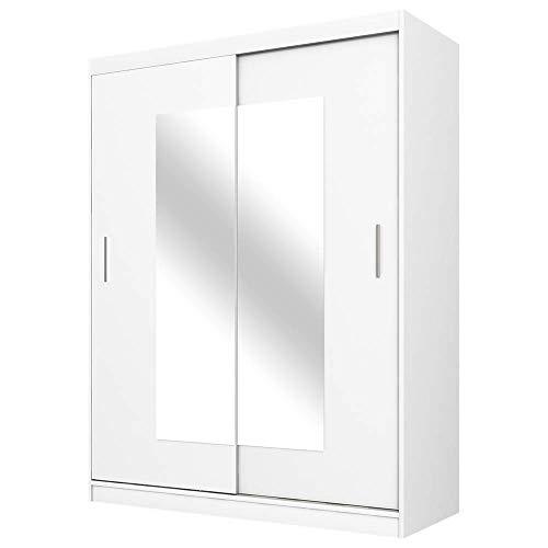 Selsey VANIVA – Schwebetürenschrank/Kleiderschrank 2-türig in Weiß mit Spiegel 150 cm