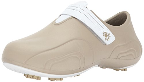 DAWGS Women's Ultralite Golf Walking Shoe,Tan/White,10 M US